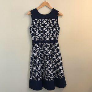 NEW Lands' End Aline Blue Geo Print Dress Size 4